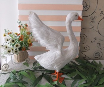 big creative simulation wings swan toy lifelike white goose doll gift about 38x13.5x31cm