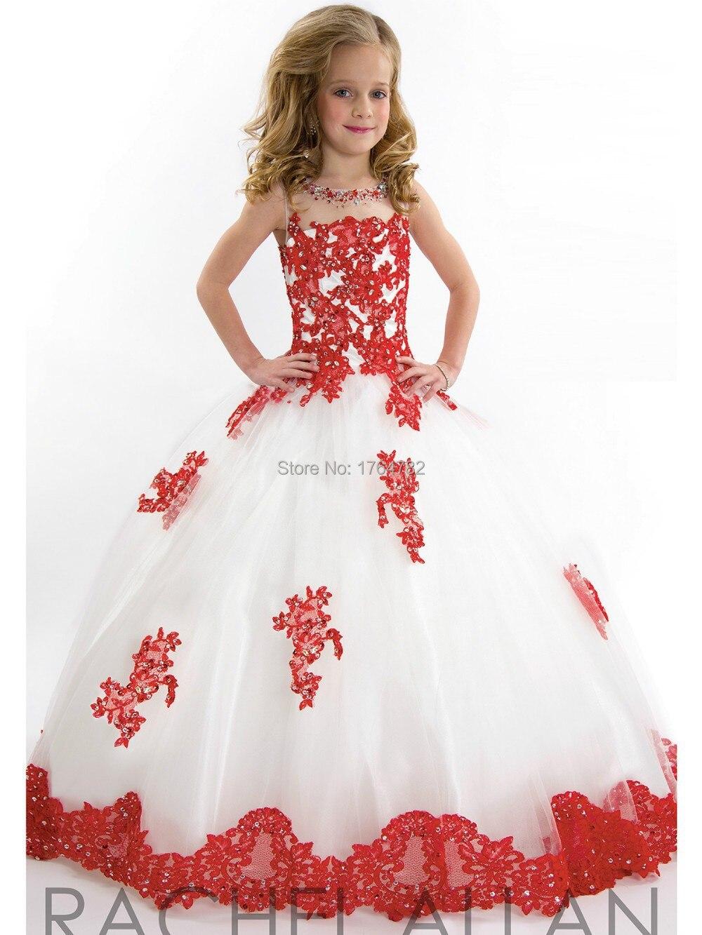 Vestido de nina rojo con blanco
