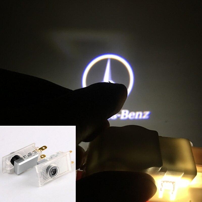2 pièces Pour Mercedes Benz W210 E220 E200 E230 E240 E55 Sprinter Viano Vito Porte De Voiture de Courtoisie Lumières projecteur laser Logo led