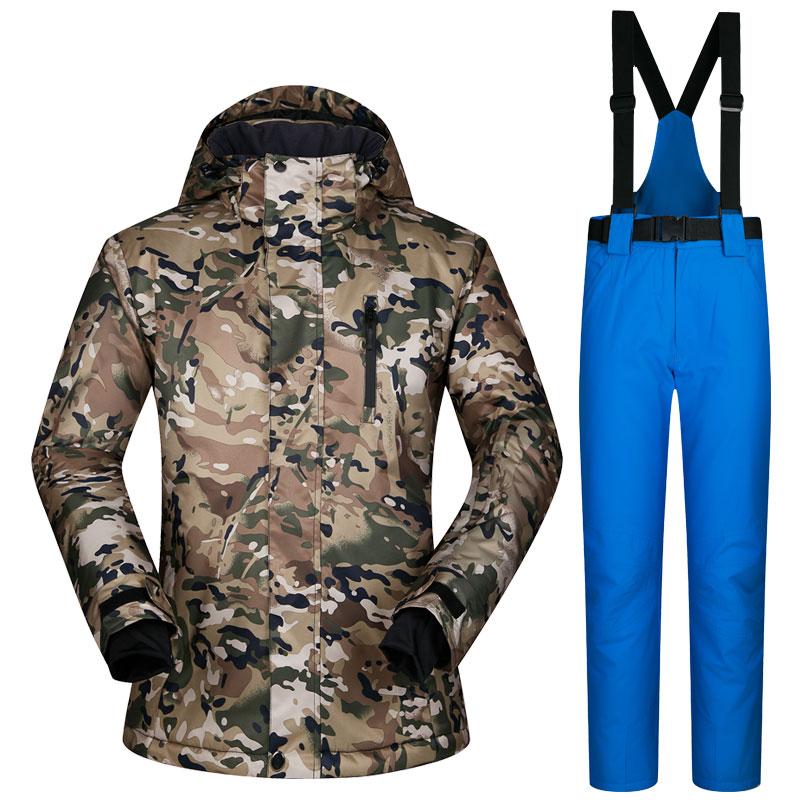 1388787752 Rusia-30 grados hombres snowboard chaqueta y pantalón traje invierno cálido  thicken ropa de esquí conjuntos impermeable nieve chaqueta de esquí  pantalones ...