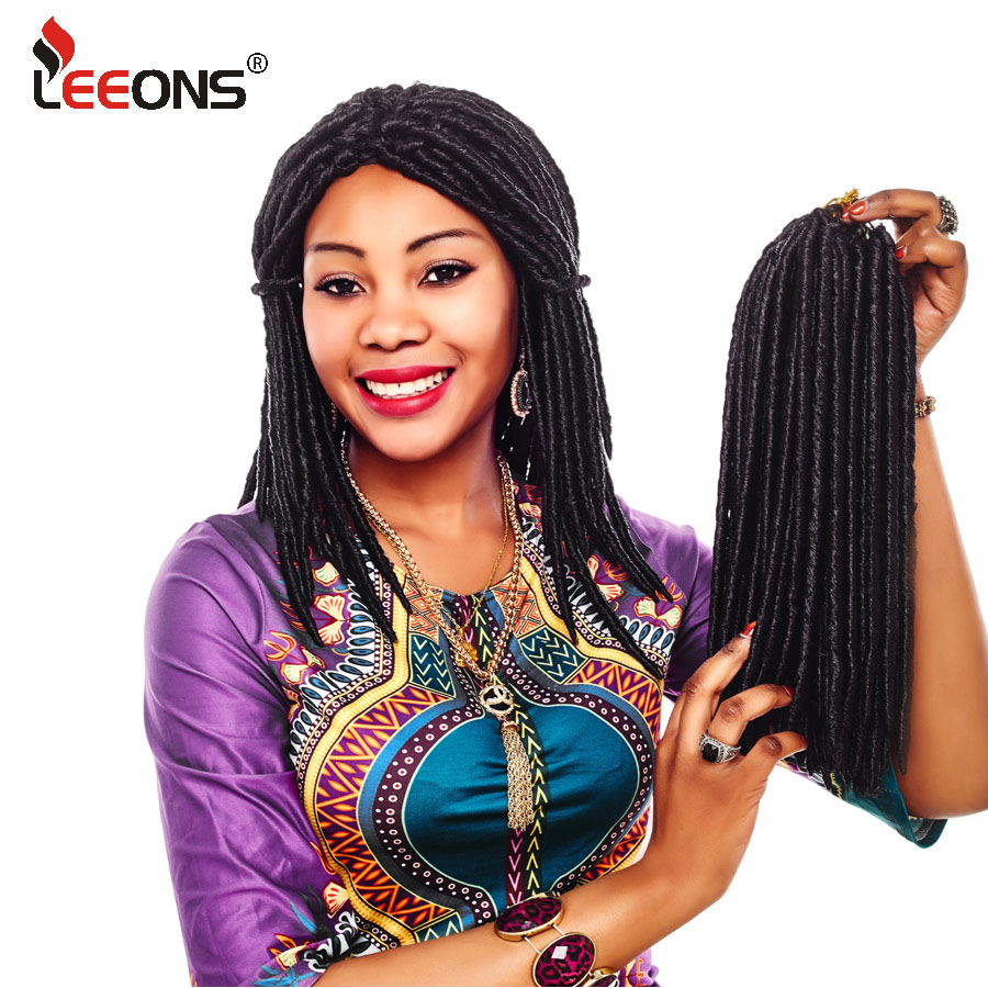 Leeons Faux Locs Crochet Hair 12 18 Inch African Braids Synthetic Braiding Hair Extensions Blonde Red Crochet Locks Braids