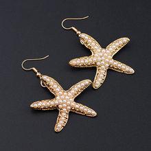 ac5a12afd9e5 Colorido Bling nueva moda calificado de estrella de mar estrella pendiente mar  concha de estrella de mar playa verano joyería pe.