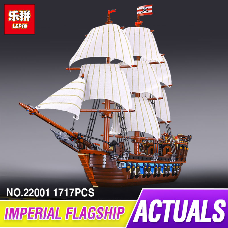 NEW LEPIN 22001 Pirate Ship warships Model Building Kits Block Briks Toys Gift 1717pcs Compatible 10210 for children lepin 22001 pirates series the imperial war ship model building kits blocks bricks toys gifts for kids 1717pcs compatible 10210