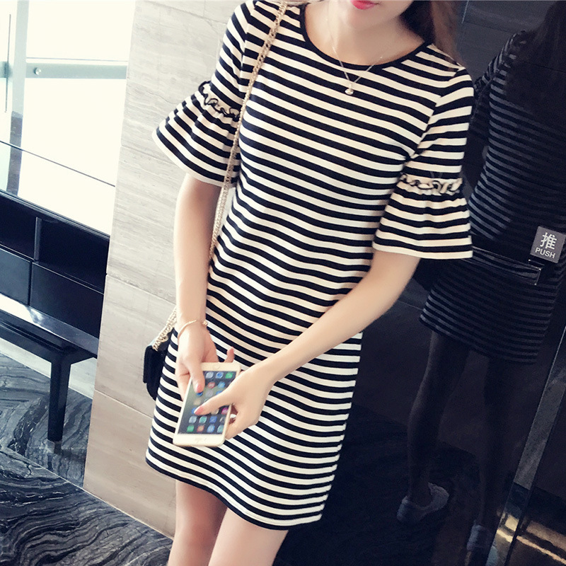 Round Neck summer clothes for women striped short sleeve casual t shirt dress plus size korean woman dress 2018 spring summer