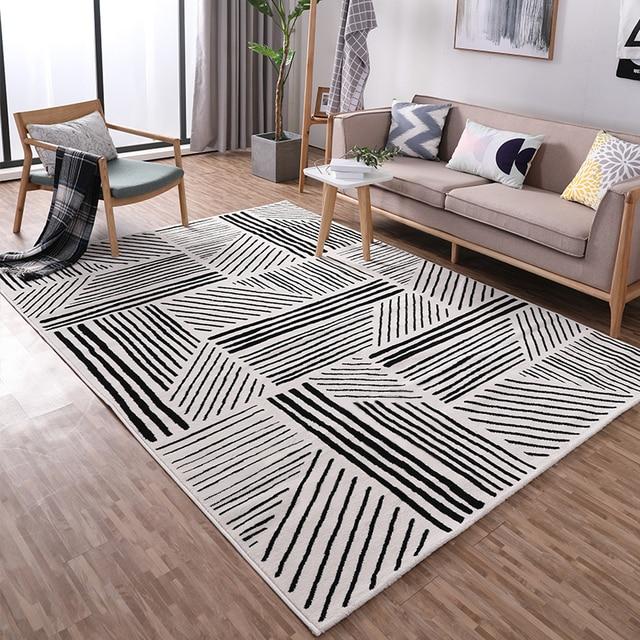 Nordic Schwarz Und Weiß Geometrische Muster Teppich, 160*230 Cm Wohnzimmer  Teppich, Bodenmatte