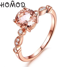 HOMOD Luxury Female Crystal White Zircon Stone Ring Fashion Rose Gold Color Wedding Jewelry Promise Engagement Rings For Women