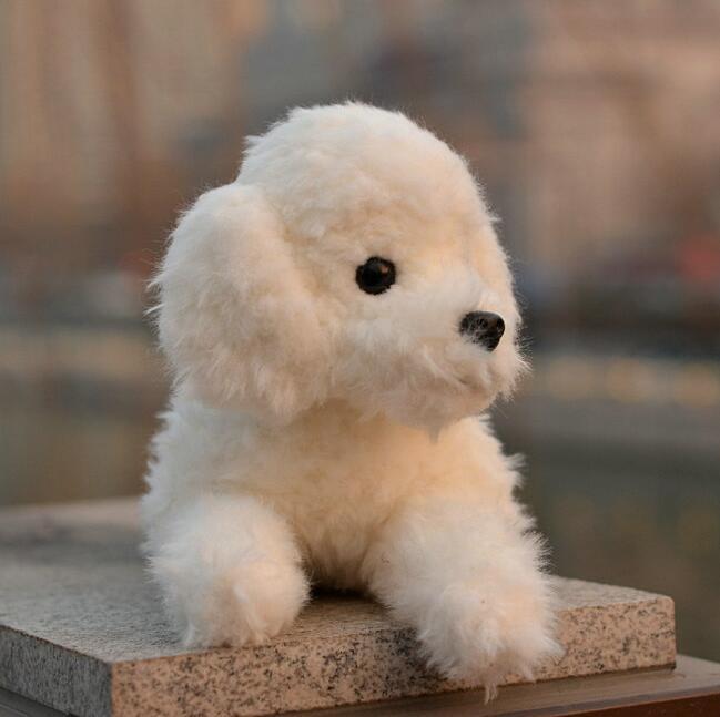 Peluche peluche chien poupée vraie vie en peluche animaux jouets pour les femmes blanc position couchée - 2