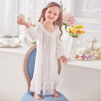 Princess girl nightgown autumn children's pajamas court style modal girl baby baby pajamas nightgown girls