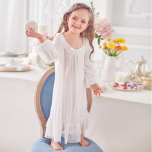 Princess girl nightgown autumn childrens pajamas court style modal baby  girls