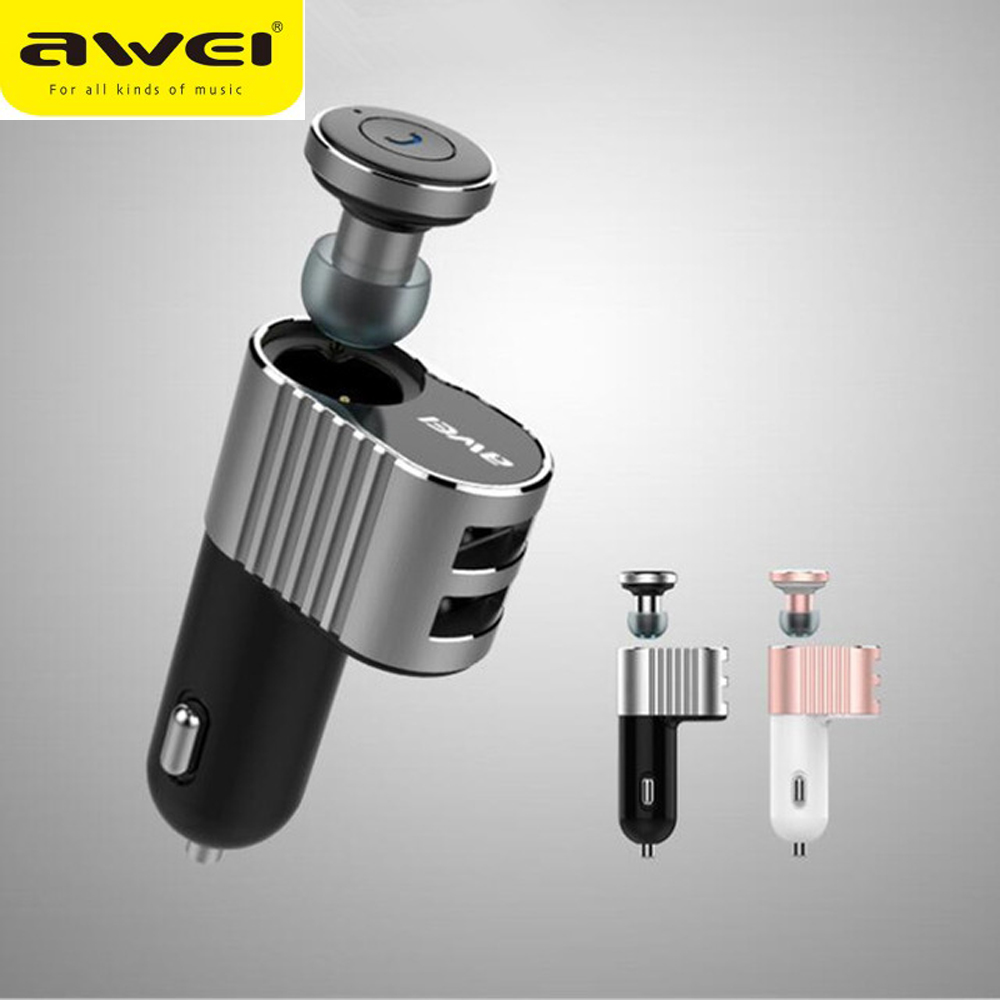 Awei Car Cordless Hands Free Wireless Headphone Earpiece Auriculares Handsfree Mini Bluetooth Headset Earphone For Your Phone awei a870bl multi function bluetooth v4 1 hands free call headset dual usb car charger earphones for android ios smartphone