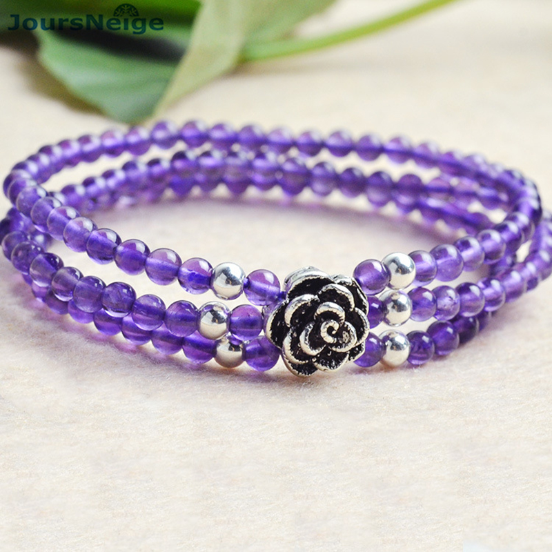 Wholesale Fine Purple Natural Crystal Bracelets 4mm Bead With Thai silver Flower Accessories Beauty Women Bracelet Jewelry