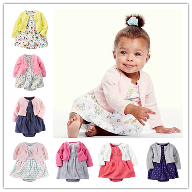 2016 brand carte baby girls clothing kids sets 100% cotton Jumpsuit + dress + shorts dress newborn toddler girl clothing