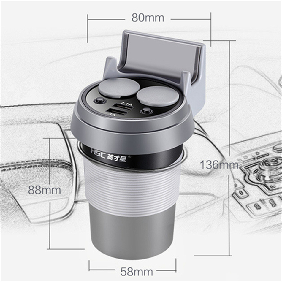 Brand HSC 12-24V 3.1A high speed Output USB Car Charger  Quick Charge Car Cup Holder Car Cigarette Lighter Socket Adapter (1)