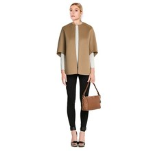 Casual Half-sleeve No Button Woolen Jacket, Classic Camel Color Batwing Sleeve Wool Jacket