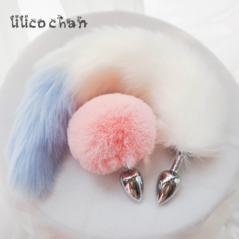faed2efacfb Mental Plush Ball Rabbit Tail Anal Plug Stainless Steel Prostate Massager Butt  Plug BDSM Sex toys