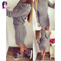 Rugod 2018 New Patterned Women Warm Sweater Dresses Winter Knitted Dress Female Thick High Elastic Slim Bodycon Dress Vestidos