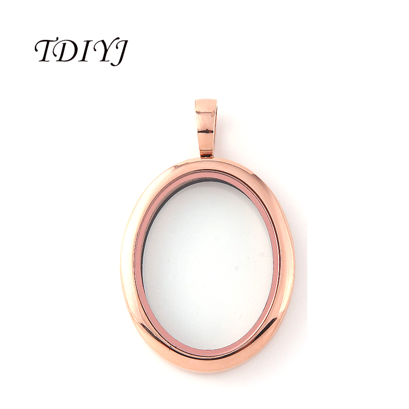 TDIYJ Newest 316L Stainless Steel Silver/Rose Gold Oval Locket Glass Floating Memory Locket Pendant for Women Jewelry 1Pcs