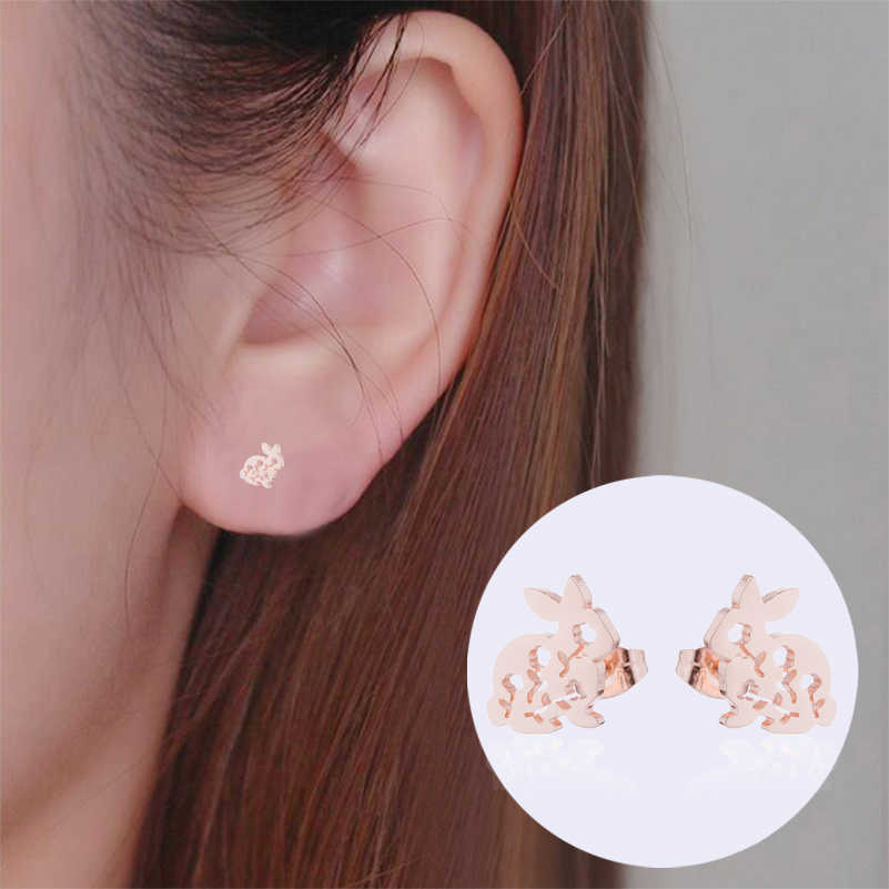5d6a20bf5dc17 Shuangshuo Korean Fashion Rabbit Earrings Female Stainless Steel Jewelry  Cute Animal Stud Earrings for Women Accessories brincos