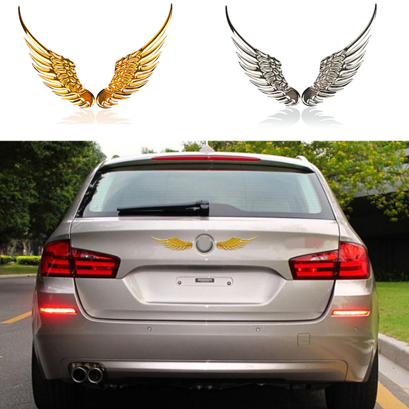 2017 Jaguar Xf Exterior: 1 Pair Car Styling Fashion Metal Stickers 3D Wings Car