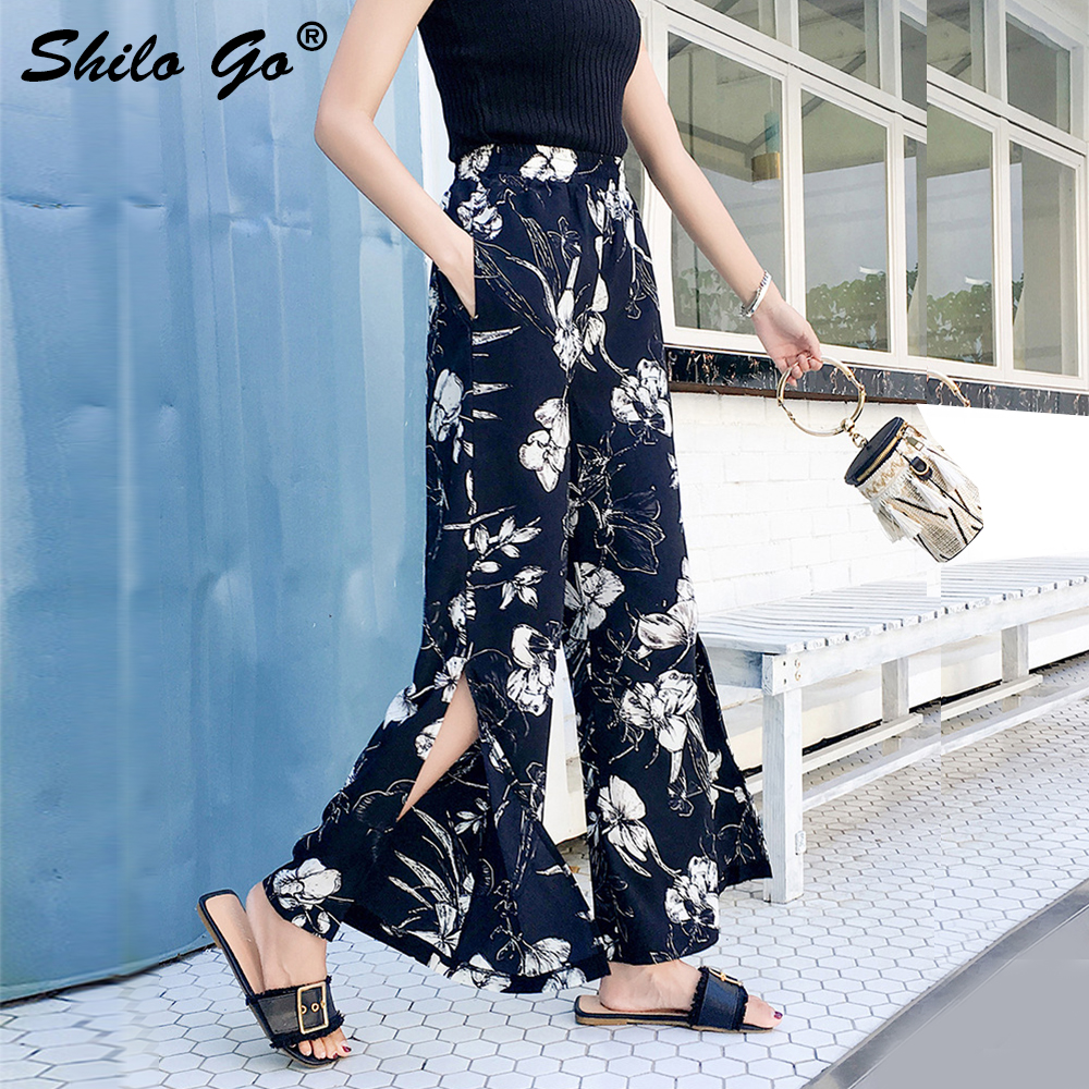 Floral print wide leg   pants   women chiffon side split high waist trousers causal   pants   female beach ladies   pants     capris   black