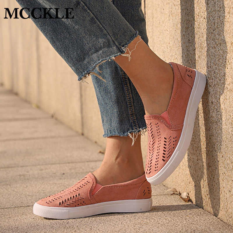 f17c812f1e7d MCCKLE Women Cut-outs Elastic Band Vulcanized Shoes Female Flock Slip-on  Shallow Breathable