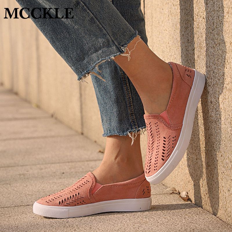 MCCKLE Women Cut-outs Elastic Band Vulcanized Shoes Female Flock - Women's Shoes