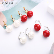 MAIKALE Simple Round Pearl Earrings Plated Gold Copper Drop Earrings For Women Red Colors And White To Send Friends Gift 2018(China)