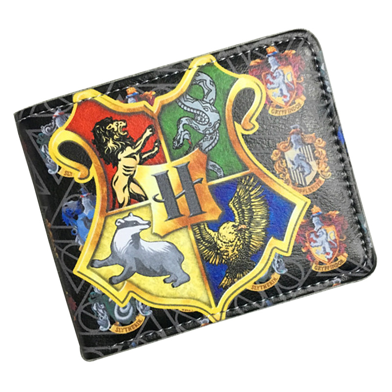 Anime Harry Potter Wallet Men Woman Leather Card Holder Purse with Zipper Coin Pocket Dollar Price Gifts Boy Girl Short Wallets lovely gravity falls cute cartoon wallets anime pu leather card holder purse dollar price creative gift kids zipper short wallet