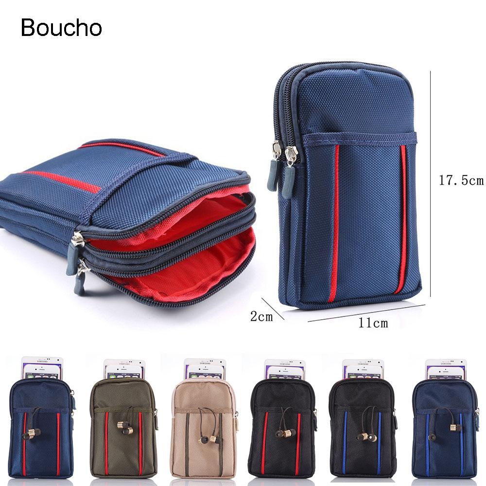Boucho Universal Outdoor Sports Hiking Running Waist Belt Bag Wallet Pouch Purse Phone Case with Zipper for iPhone For Samsung