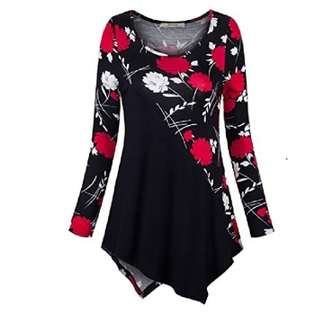 2019 Flower Printing V Neck Long Sleeve T Shirt Women Long Sleeve Tops Casual White T Shirts Ladies Black Blue Plus Size 5XL 4XL