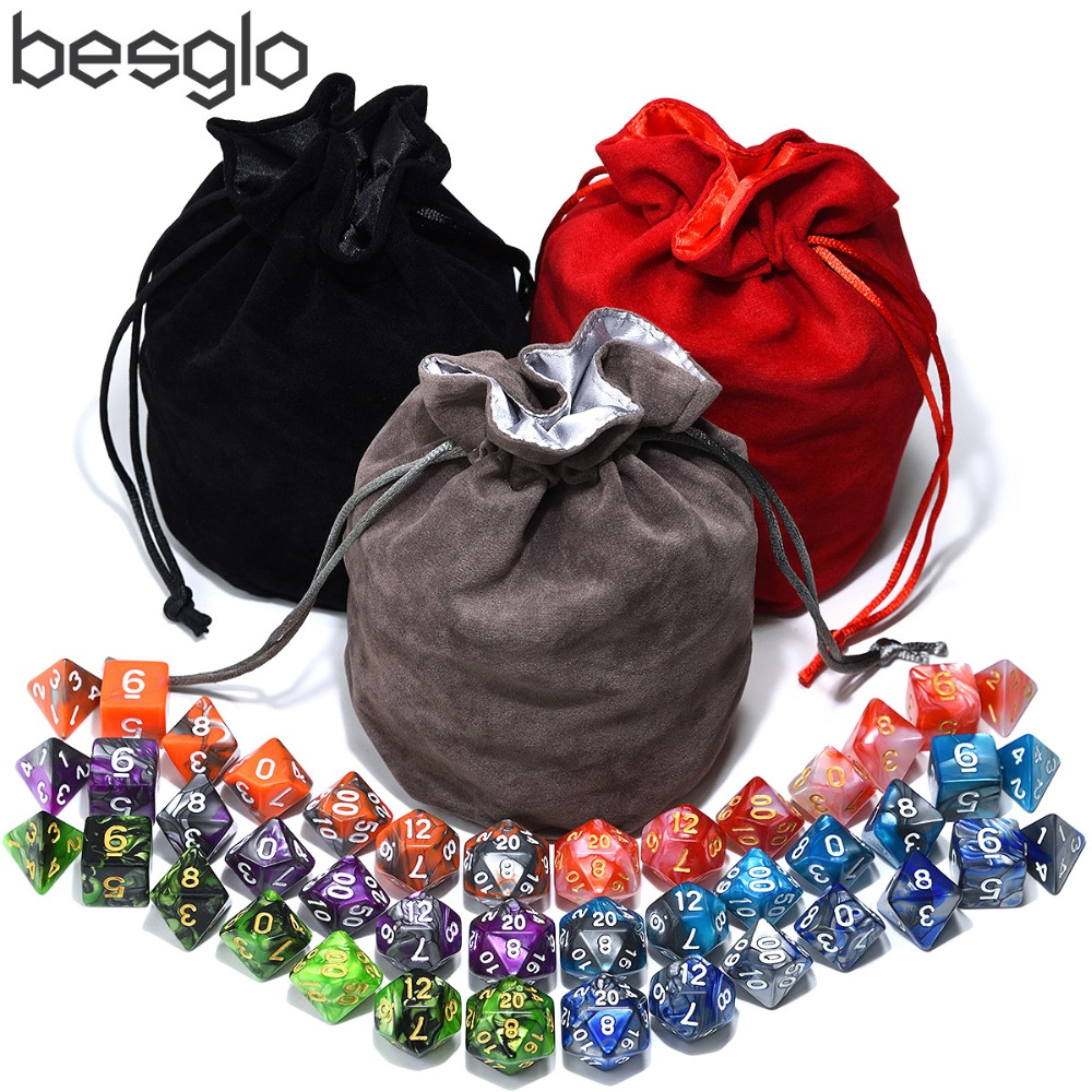 Dice For Dungeons And Dragons RPG MTG Games 6 Sets Polyhedral Dice With 1pcs Big Velvet Pouch(Black Bag, Gray Bag, Red Bag)