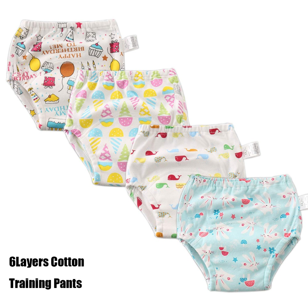 6 Layer Cotton Training Pants Baby Waterproof Changing Nappy Cloth Diaper Panties Reusable Diaper Cover Baby Toddler Underwear