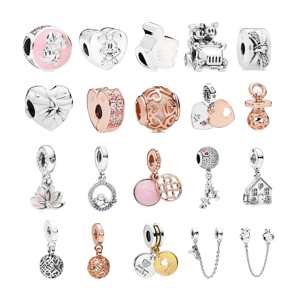 PANDULASO 2018 Mother's Day Brilliant Bow Charm Beads Fit pandora Original Bracelet 925 Sterling Silver & Rose Gold DIY Jewelry