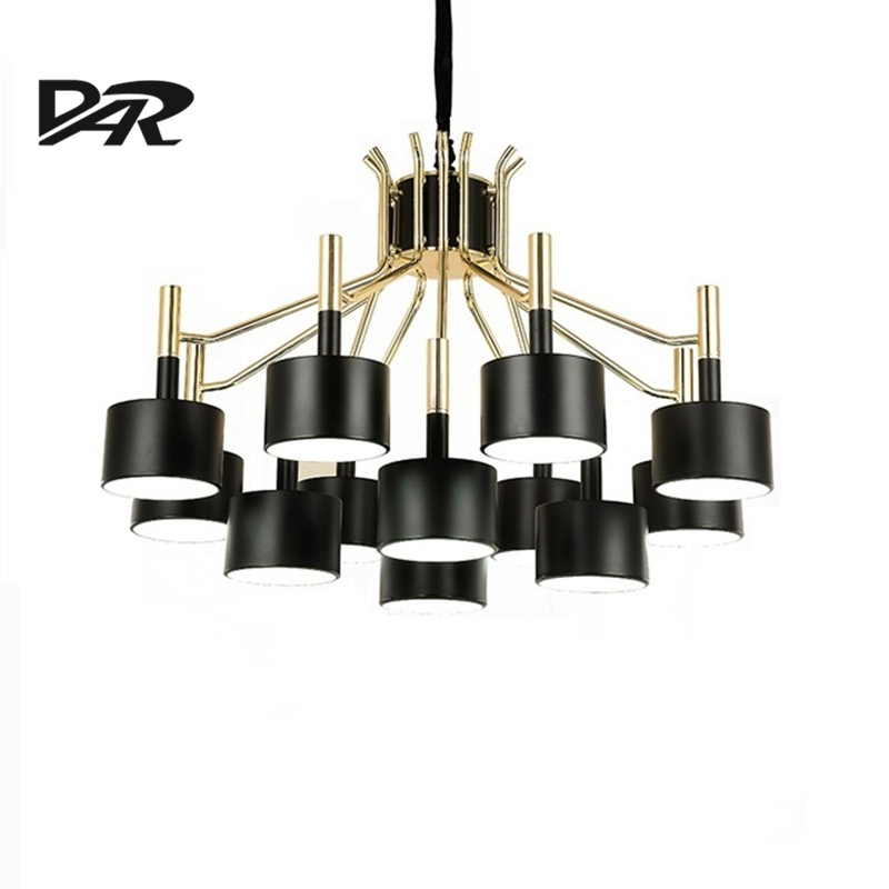Modern Led Chandelier Lighting White/Black Iron Shade AC 110V/220V Loft Chandeliers Pendientes Kroonluchter Hanglamp Discount
