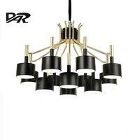 Modern Led Chandelier Lighting White/Black Iron Shade AC 110V/220V Loft Chandeliers Pendientes Kroonluchter Hanglamp Discount