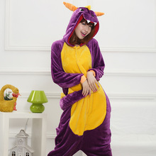 HKSNG Unisex Adult Winter Spyro Shiryu Purple Dragon Green Grey Gray Pink Dinosaur Pajamas Onesies Cosplay Costumes Kigu
