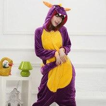 HKSNG Unisex yetişkin kış Spyro Shiryu mor ejderha yeşil gri gri pembe dinozor pijama Onesies Cosplay kostümleri Kigu