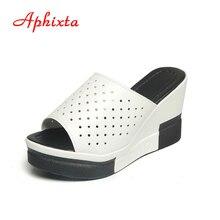 Aphixta Summer Slides Women Wedge Slippers New Platform Sandals Split Leather High Heels Sandals Slipper  Fashion Woman Shoes
