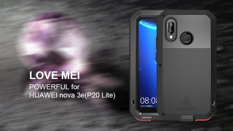Love Mei Powerful Case For Huawei Nova 3E P20 Lite Cover Waterproof Shockproof Aluminum Case Cover + Tempered Glass For Nexus 6