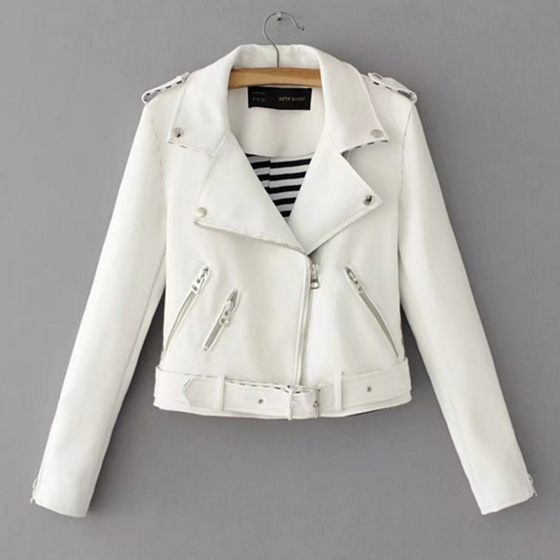 2019 Autumn/winter New Women's Casual   Leather   Jacket coat with belt Solid Pink White Color PU Faux HIgh Quality Slim Fit Tops