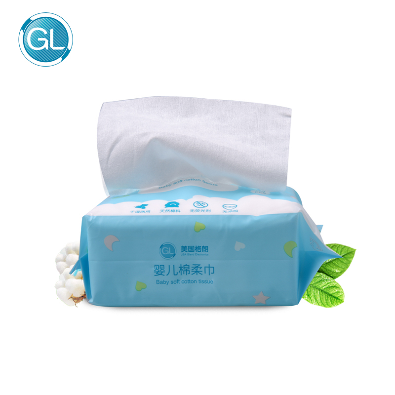 GL 6Packs 600pcs Baby Soft Cotton Tissue Multiple Use Dry Tissue Wet Tissue Child Daily Skin Care Papers Wet Wipes Skin-friendly