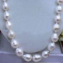 """Огромное море AAA+ 12-15 мм белый AKOYA барокко жемчужное ожерелье 18"""""""