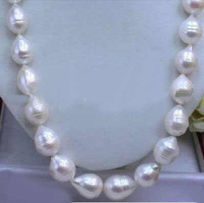 HUGE SEA AAA+ 12-15 MM WHITE AKOYA BAROQUE PEARL NECKLACE 18""