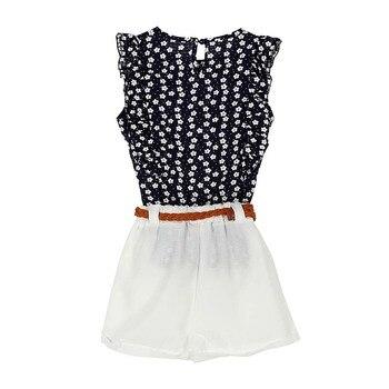 Summer Toddler Kids Baby Girls Clothes Sets Floral Chiffon Polka Dot Sleeveless T-shirt Tops+Shorts Outfits S28 conjuntos casuales para niñas