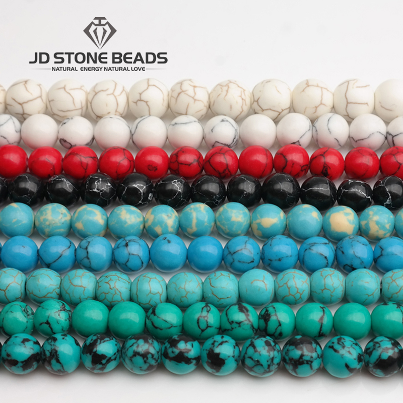 Green Turquoise Beads White/Blue/Red Color Dyed Stone Handmade Necklace Pendants Accessory 4~18mm Pick Size For Jewelry Making Green Turquoise Beads White/Blue/Red Color Dyed Stone Handmade Necklace Pendants Accessory 4~18mm Pick Size For Jewelry Making