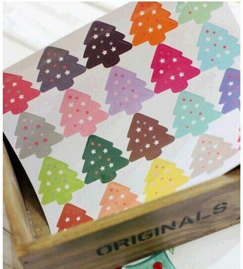 100pcs/lot Christmas Tree Stickers Kawaii Sticker Sealing Label DIY Gifts Posted Baking Decoration Label Multifunction