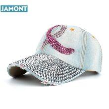 1a955ba7b97 JAMONT 2017 New Fashion Health Care For Women Breast Denim Cotton  Rhinestone Hat Baseball Cap With Pink Ribbon Diamante