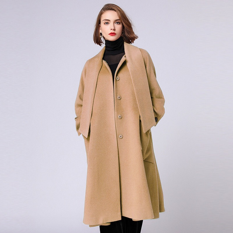 Anya 2018 Winter Woman Coats Loose Maternity Clothes Pregnancy Coats Plus Size Outerwear Button Pockets Long Coats Wool grey two side pockets long sleeves outerwear