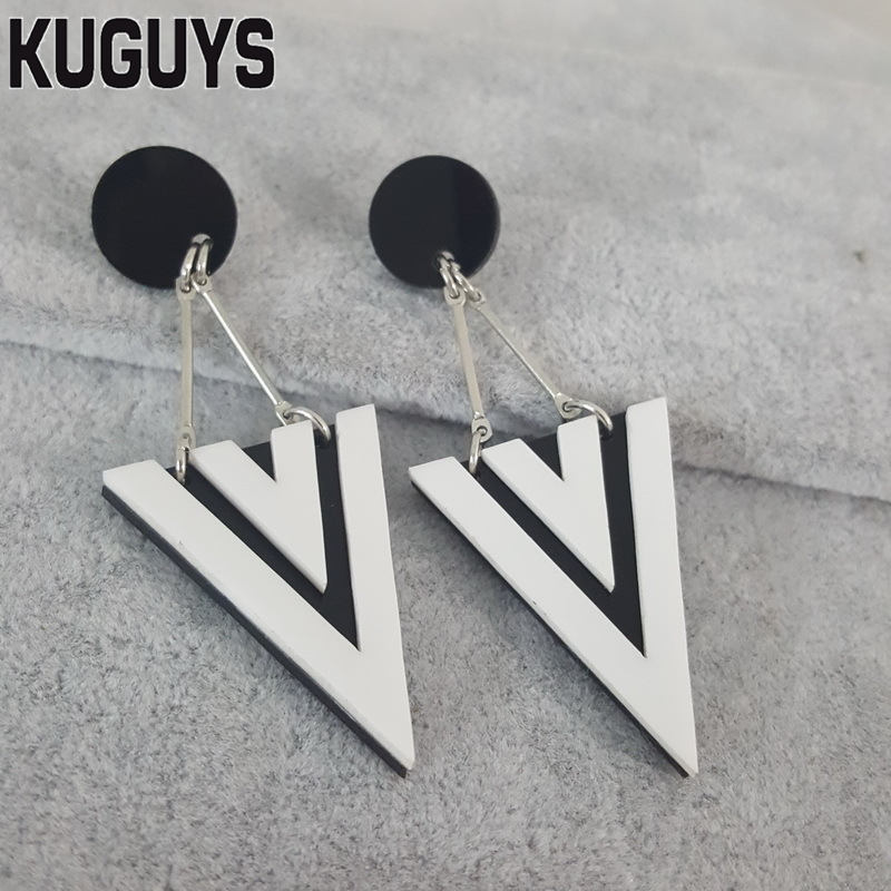 KUGUYS Fashion Jewelry Oorbellen Acrylic Black White ...