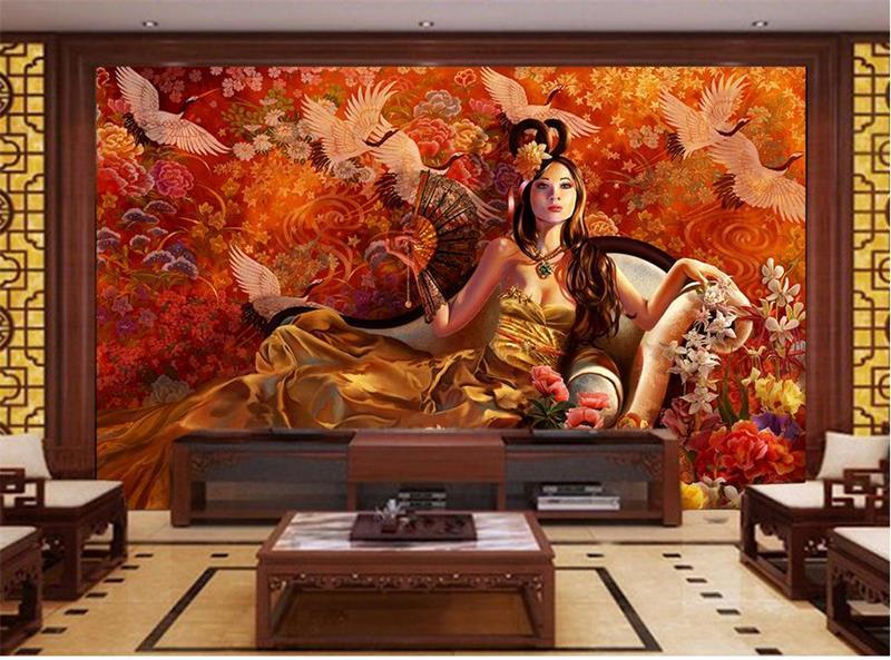 3d room wallpaper custom murals non-woven wall paper sticker The crane and fairy painting 3d wall photo wallpaper for wall 3d антисептик dali универсальный 0 6 л